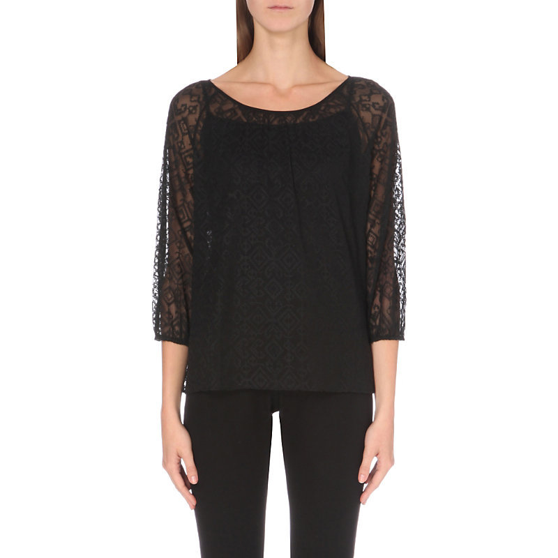 Cross Stitch Chiffon Blouse, Women's, Black - pattern: plain; style: blouse; predominant colour: black; occasions: evening; length: standard; neckline: scoop; fibres: polyester/polyamide - 100%; fit: body skimming; sleeve length: 3/4 length; sleeve style: standard; texture group: sheer fabrics/chiffon/organza etc.; pattern type: fabric; embellishment: lace; shoulder detail: sheer at shoulder; season: a/w 2016; wardrobe: event