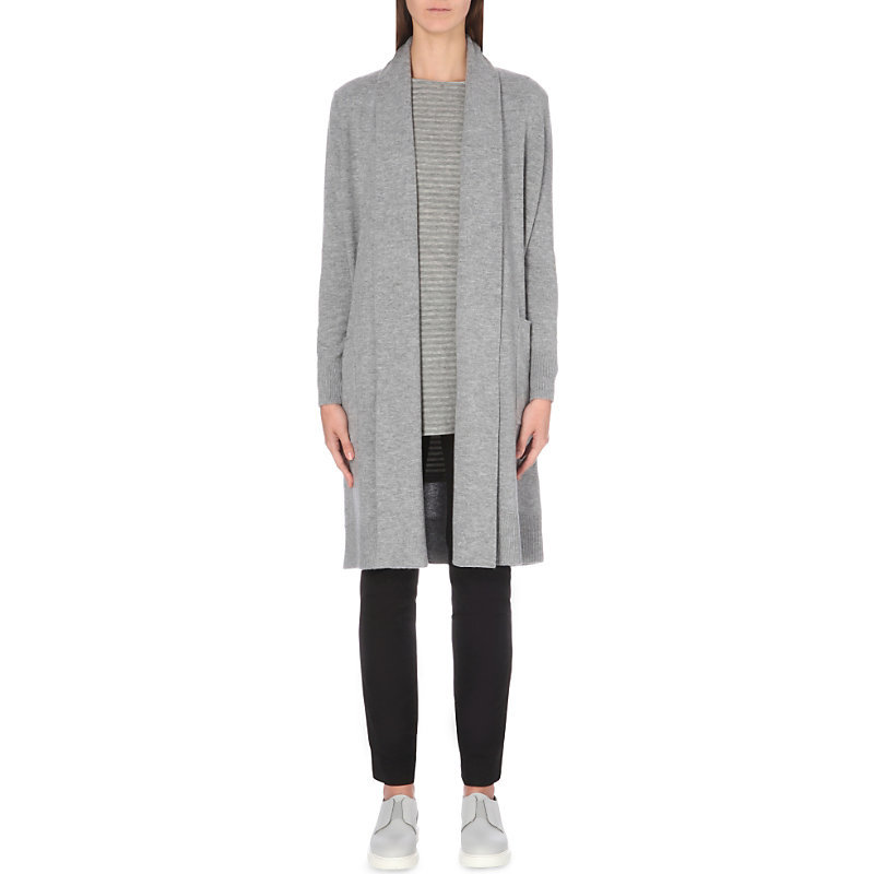 Shawl Neck Longline Wool Cardigan, Women's, Grey Marl - pattern: plain; neckline: collarless open; style: open front; length: on the knee; predominant colour: light grey; occasions: casual, creative work; fibres: wool - 100%; fit: loose; sleeve length: long sleeve; sleeve style: standard; texture group: knits/crochet; pattern type: knitted - fine stitch; wardrobe: basic; season: a/w 2016
