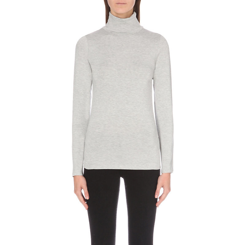 Turtleneck Stretch Jersey Jumper, Women's, Silvergreymarl - pattern: plain; neckline: roll neck; style: standard; predominant colour: light grey; occasions: casual; length: standard; fibres: viscose/rayon - stretch; fit: slim fit; sleeve length: long sleeve; sleeve style: standard; pattern type: fabric; texture group: jersey - stretchy/drapey; season: a/w 2016