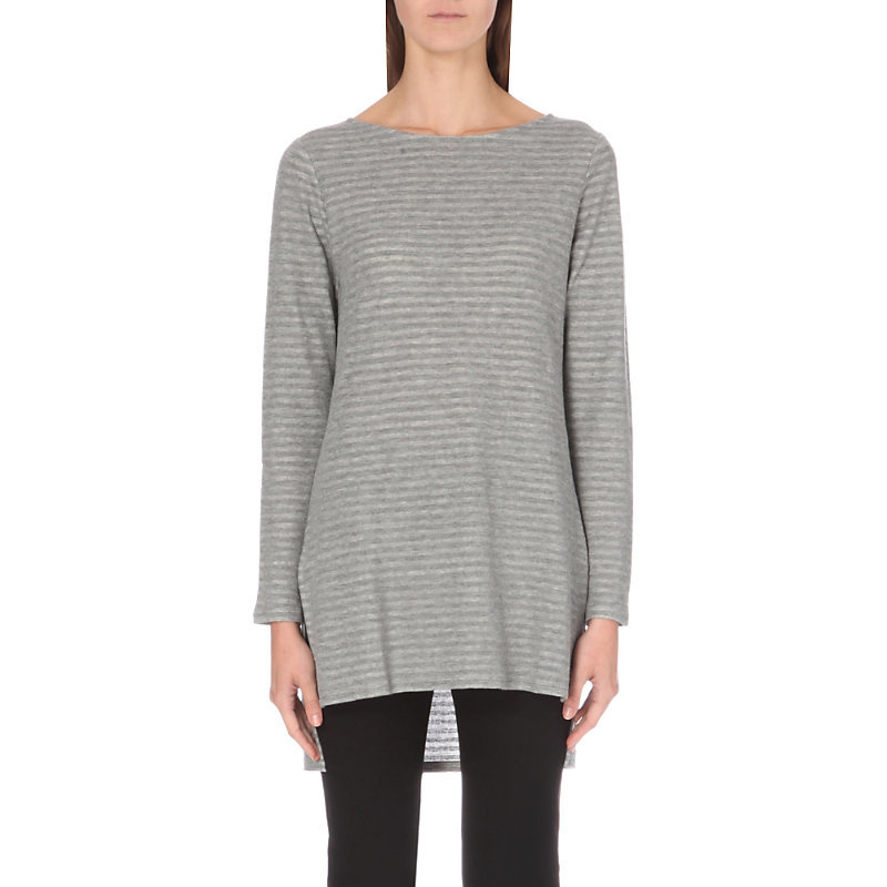 Jacquard Stripe Knitted Jumper, Women's, Grey/Tan - neckline: round neck; pattern: horizontal stripes; length: below the bottom; style: standard; predominant colour: light grey; occasions: casual; fibres: cotton - mix; fit: loose; sleeve length: long sleeve; sleeve style: standard; pattern type: fabric; texture group: jersey - stretchy/drapey; season: a/w 2016; wardrobe: highlight