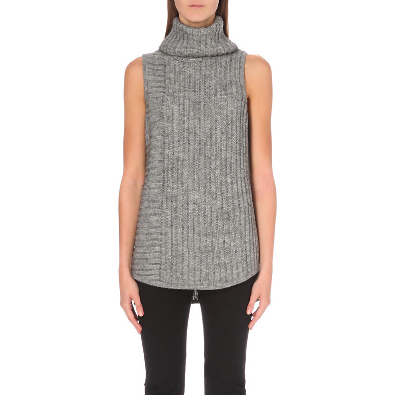 Sleeveless Turtleneck Knitted Jumper, Women's, Grey Marl - pattern: plain; sleeve style: sleeveless; length: below the bottom; neckline: roll neck; style: standard; predominant colour: mid grey; occasions: casual; fibres: nylon - mix; fit: standard fit; sleeve length: sleeveless; texture group: knits/crochet; pattern type: knitted - fine stitch; wardrobe: basic; season: a/w 2016