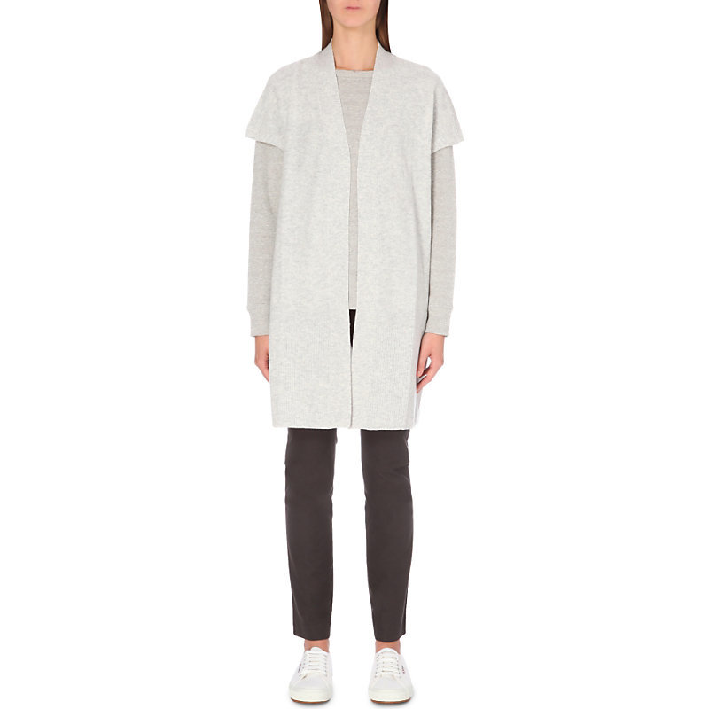 Longline Wool Cardigan, Women's, Pale Grey Marl - pattern: plain; neckline: collarless open; style: open front; predominant colour: light grey; occasions: casual, work, creative work; fibres: wool - mix; fit: loose; length: mid thigh; sleeve length: short sleeve; sleeve style: standard; texture group: knits/crochet; pattern type: knitted - fine stitch; wardrobe: basic; season: a/w 2016