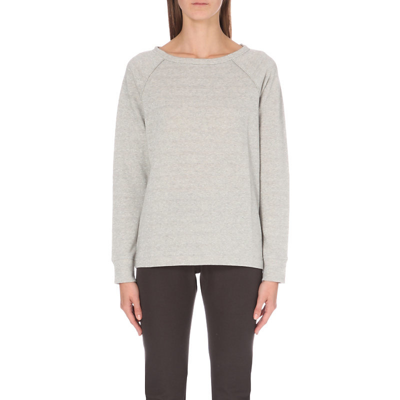 Silver Stripe Sweatshirt, Women's, Silvergreymarl - neckline: round neck; pattern: plain; style: sweat top; predominant colour: light grey; occasions: casual, creative work; length: standard; fibres: cotton - mix; fit: body skimming; sleeve length: long sleeve; sleeve style: standard; pattern type: fabric; texture group: jersey - stretchy/drapey; wardrobe: basic; season: a/w 2016