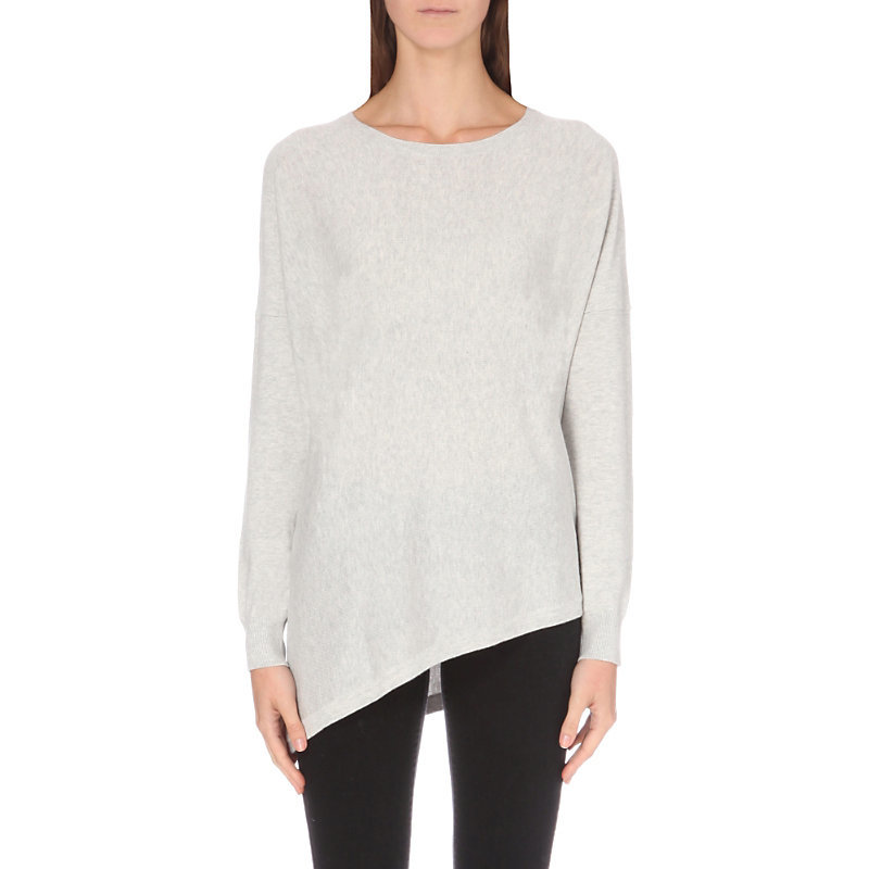 Asymmetric Cotton Blend Jumper, Women's, Pale Grey Marl - neckline: round neck; pattern: plain; hip detail: asymmetric hem falling at hip level; style: standard; predominant colour: light grey; occasions: casual, creative work; fibres: cotton - mix; fit: standard fit; length: mid thigh; sleeve length: long sleeve; sleeve style: standard; texture group: knits/crochet; pattern type: knitted - fine stitch; wardrobe: basic; season: a/w 2016