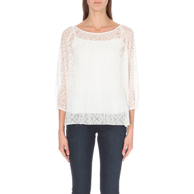Cross Stitch Chiffon Blouse, Women's, Black/Nude - neckline: round neck; pattern: plain; bust detail: sheer at bust; style: blouse; predominant colour: ivory/cream; occasions: evening; length: standard; fibres: polyester/polyamide - 100%; fit: body skimming; sleeve length: 3/4 length; sleeve style: standard; texture group: sheer fabrics/chiffon/organza etc.; pattern type: fabric; shoulder detail: sheer at shoulder; season: a/w 2016; wardrobe: event