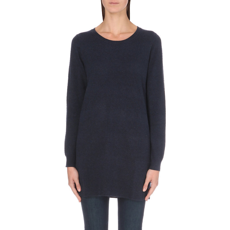 Ribbed Knit Tunic Jumper, Women's, Navy Marl - neckline: round neck; pattern: plain; style: tunic; predominant colour: navy; occasions: casual, creative work; fibres: wool - mix; fit: loose; length: mid thigh; sleeve length: long sleeve; sleeve style: standard; texture group: knits/crochet; pattern type: knitted - fine stitch; wardrobe: basic; season: a/w 2016