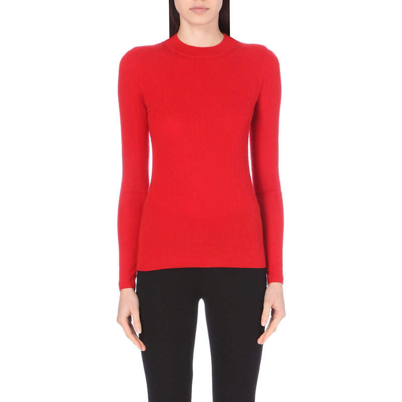 Ribbed Cashmere Jumper, Women's, Size: Small, 552 Dark Red - neckline: round neck; pattern: plain; style: standard; predominant colour: true red; occasions: casual, work, creative work; length: standard; fit: slim fit; fibres: cashmere - 100%; sleeve length: long sleeve; sleeve style: standard; texture group: knits/crochet; pattern type: knitted - fine stitch; season: a/w 2016; wardrobe: highlight