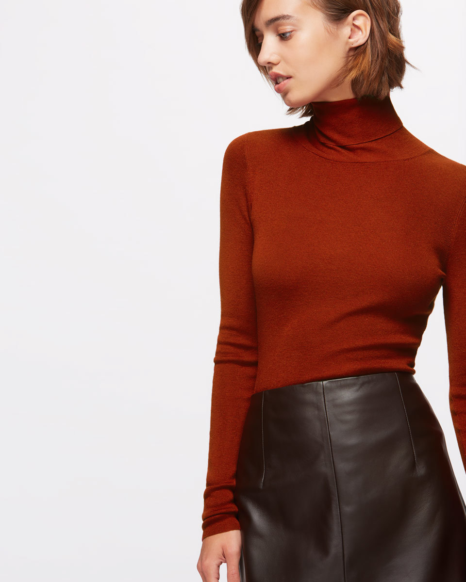 Silk Cotton Polo Neck Jumper - pattern: plain; neckline: high neck; predominant colour: burgundy; occasions: casual; length: standard; style: top; fibres: cotton - mix; fit: body skimming; sleeve length: long sleeve; sleeve style: standard; texture group: silky - light; pattern type: fabric; season: a/w 2016; wardrobe: highlight