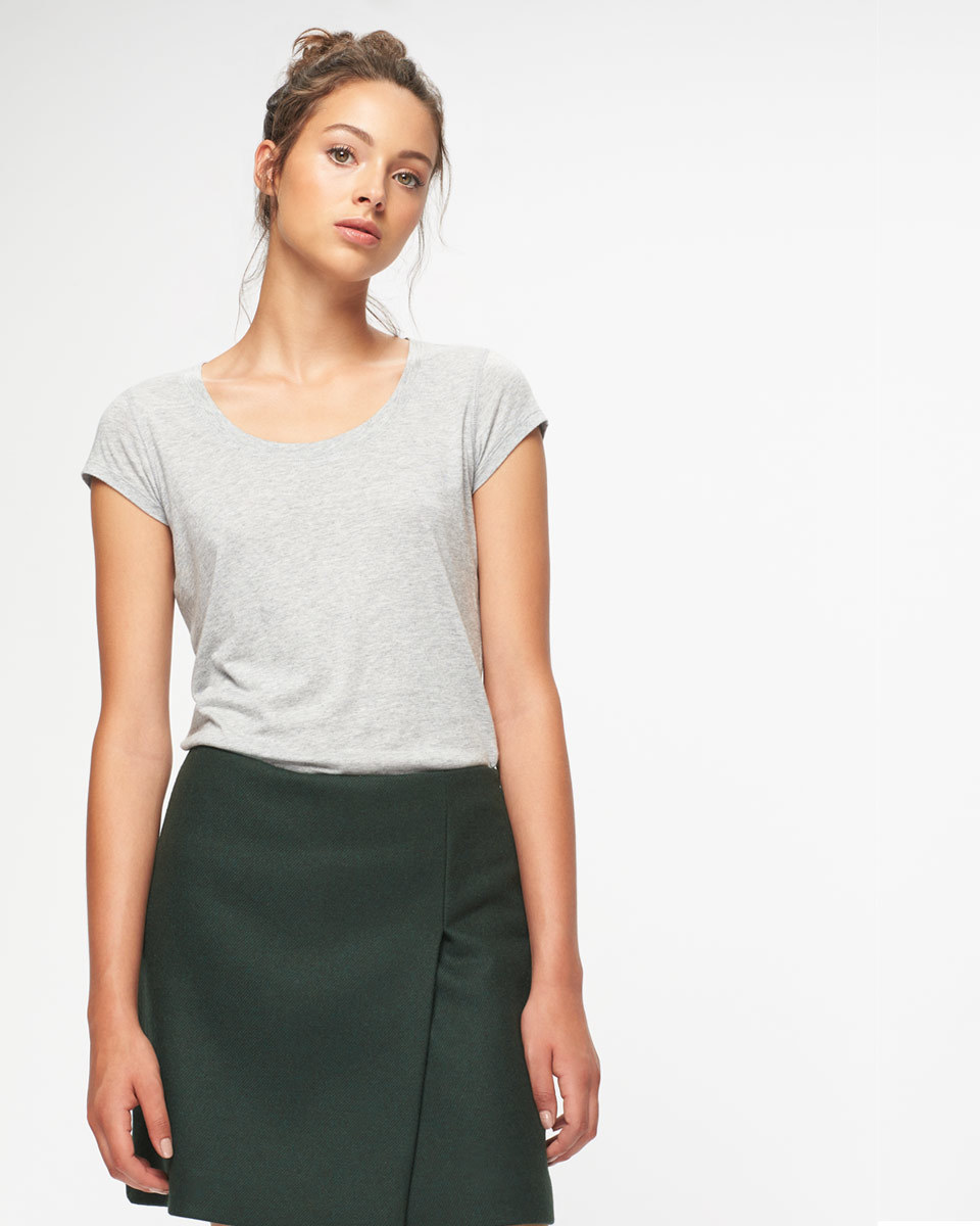 Muted Twill Wrap Mini Skirt - length: mini; pattern: plain; style: wrap/faux wrap; fit: tailored/fitted; waist: mid/regular rise; predominant colour: black; occasions: casual, creative work; fibres: wool - mix; pattern type: fabric; texture group: woven light midweight; wardrobe: basic; season: a/w 2016