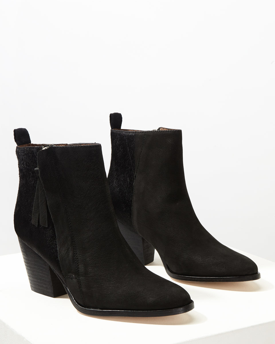Adyson Side Zip Calf Hair Boot - predominant colour: black; occasions: casual; heel height: mid; heel: block; toe: round toe; boot length: ankle boot; style: standard; finish: plain; pattern: plain; material: pony skin; season: a/w 2016