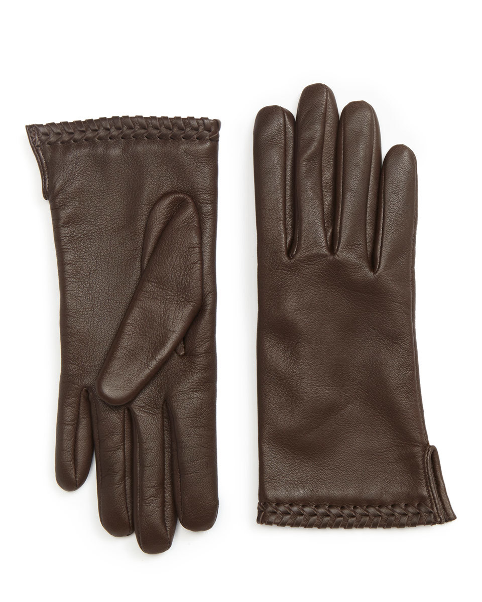 Ginny Whipstitch Leather Glove - predominant colour: chocolate brown; occasions: casual; type of pattern: standard; style: standard; length: wrist; material: leather; pattern: plain; season: a/w 2016