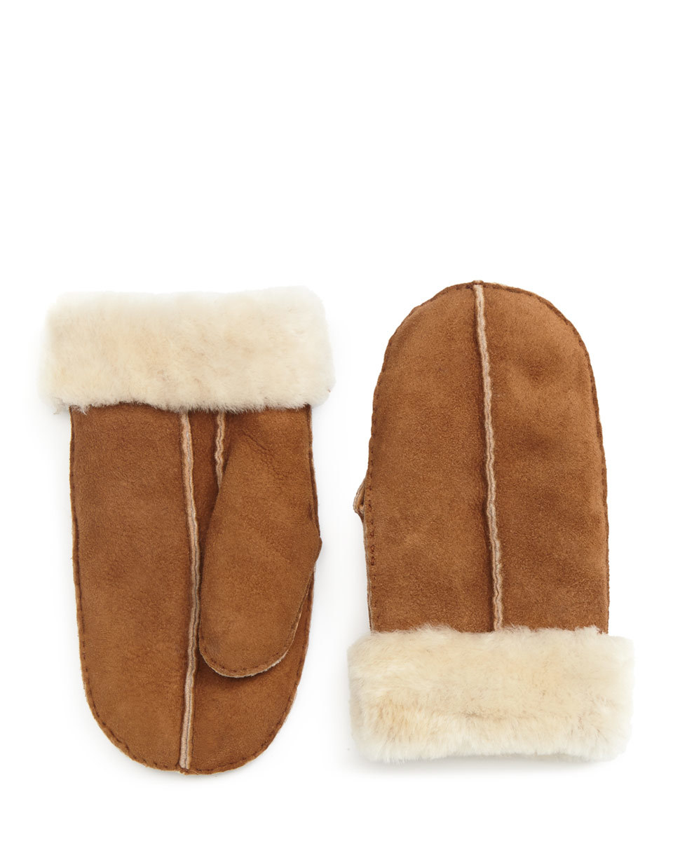 Gracie Sheepskin Mitten - secondary colour: ivory/cream; predominant colour: tan; occasions: casual; type of pattern: standard; style: mittens; length: wrist; pattern: plain; material: animal skin; multicoloured: multicoloured; season: a/w 2016