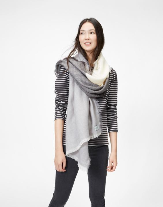 Soft Grey Berkley Scarf Size One Size | Uk - predominant colour: mid grey; secondary colour: light grey; occasions: casual, creative work; type of pattern: standard; style: regular; size: large; material: fabric; pattern: colourblock; season: a/w 2016; wardrobe: highlight