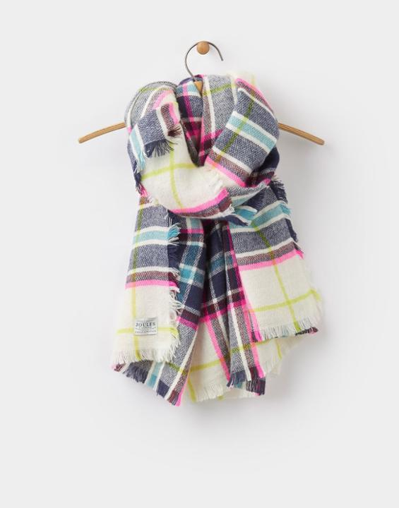 Berkley Scarf Antique Cream Check - predominant colour: ivory/cream; secondary colour: navy; occasions: casual; type of pattern: standard; style: regular; size: large; material: knits; pattern: checked/gingham; multicoloured: multicoloured; season: a/w 2016