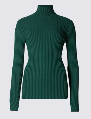 Wide Rib Polo Neck Jumper - pattern: plain; length: below the bottom; neckline: roll neck; style: standard; predominant colour: dark green; occasions: casual, creative work; fit: slim fit; sleeve length: long sleeve; sleeve style: standard; texture group: knits/crochet; pattern type: knitted - fine stitch; pattern size: standard; fibres: viscose/rayon - mix; season: a/w 2016; wardrobe: highlight