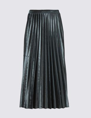 Velvet Pleated Midi Skirt - length: below the knee; pattern: plain; fit: loose/voluminous; style: pleated; waist: mid/regular rise; occasions: casual, creative work; fibres: polyester/polyamide - stretch; hip detail: structured pleats at hip; pattern type: fabric; texture group: velvet/fabrics with pile; predominant colour: pewter; pattern size: standard (bottom); season: a/w 2016