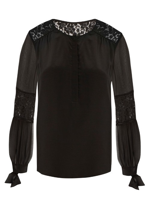 Sarah Lace Panel Silk Blouse - neckline: round neck; pattern: plain; style: blouse; predominant colour: black; occasions: evening, occasion; length: standard; fibres: silk - 100%; fit: body skimming; sleeve length: long sleeve; sleeve style: standard; texture group: lace; pattern type: fabric; embellishment: lace; season: a/w 2016; wardrobe: event