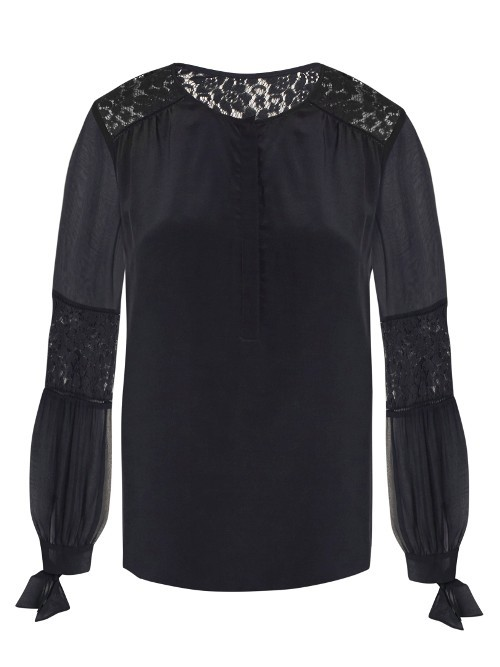 Sarah Lace Panel Silk Blouse - neckline: round neck; style: blouse; predominant colour: black; occasions: evening, occasion; length: standard; fibres: silk - 100%; fit: body skimming; sleeve length: long sleeve; sleeve style: standard; texture group: silky - light; pattern type: fabric; pattern size: light/subtle; pattern: patterned/print; embellishment: lace; season: a/w 2016; wardrobe: event