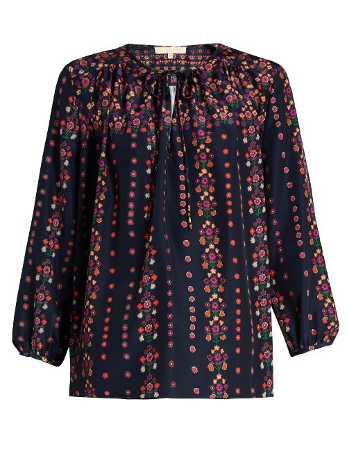 Fasciner Floral Print Crepe Top - neckline: round neck; predominant colour: navy; occasions: casual, creative work; length: standard; style: top; fibres: silk - mix; fit: straight cut; sleeve length: 3/4 length; sleeve style: standard; texture group: silky - light; pattern type: fabric; pattern: patterned/print; pattern size: big & busy (top); multicoloured: multicoloured; season: a/w 2016