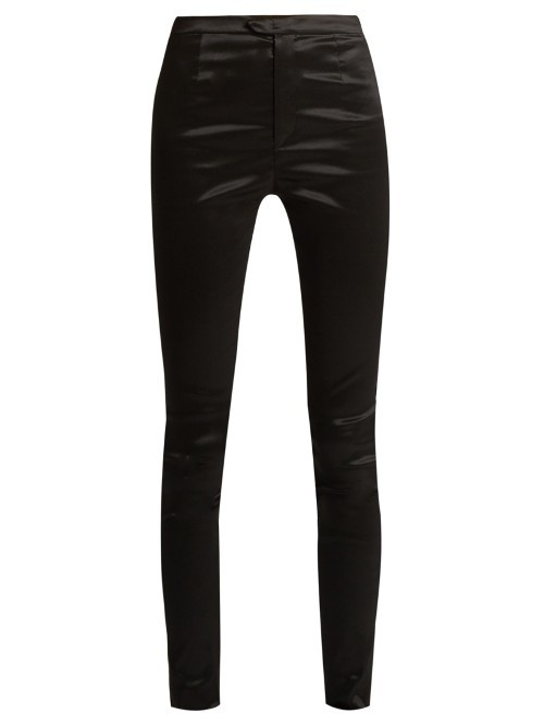 Nevada High Shine Skinny Trousers - pattern: plain; waist: mid/regular rise; predominant colour: black; occasions: evening, creative work; length: ankle length; fibres: polyester/polyamide - stretch; texture group: structured shiny - satin/tafetta/silk etc.; fit: skinny/tight leg; pattern type: fabric; style: standard; pattern size: standard (bottom); wardrobe: basic; season: a/w 2016