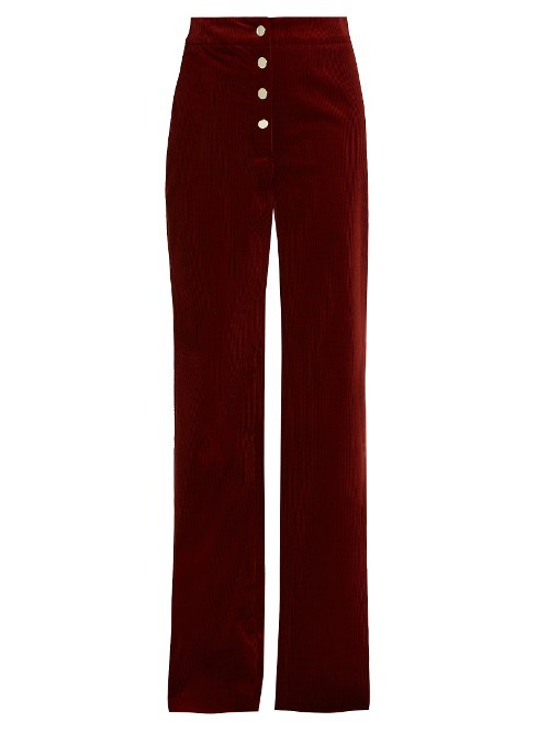 Fylis Staright Leg Corduroy Trousers - length: standard; pattern: plain; waist: mid/regular rise; predominant colour: burgundy; occasions: casual; fibres: cotton - stretch; texture group: corduroy; fit: straight leg; pattern type: fabric; style: standard; season: a/w 2016