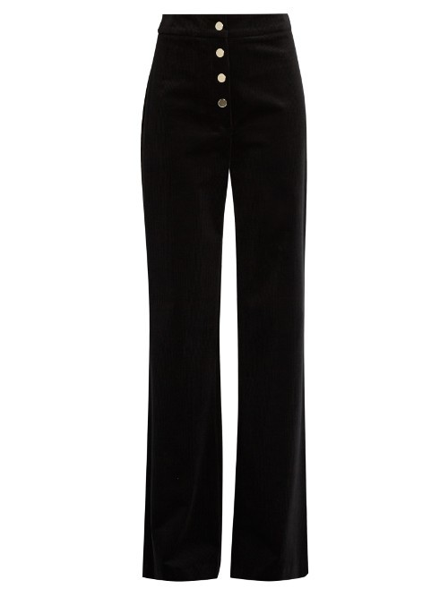 Fylis Staright Leg Corduroy Trousers - length: standard; pattern: plain; waist: mid/regular rise; predominant colour: black; occasions: casual; fibres: cotton - stretch; texture group: corduroy; fit: wide leg; pattern type: fabric; style: standard; wardrobe: basic; season: a/w 2016