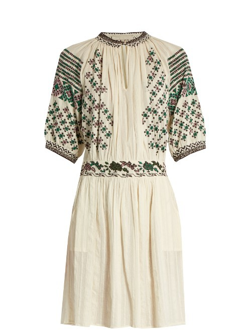 Frivole Embroidered Dress - fit: fitted at waist; style: sundress; predominant colour: ivory/cream; secondary colour: black; occasions: casual; length: just above the knee; neckline: collarstand & mandarin with v-neck; fibres: cotton - 100%; sleeve length: half sleeve; sleeve style: standard; texture group: cotton feel fabrics; pattern type: fabric; pattern: patterned/print; embellishment: embroidered; multicoloured: multicoloured; season: a/w 2016