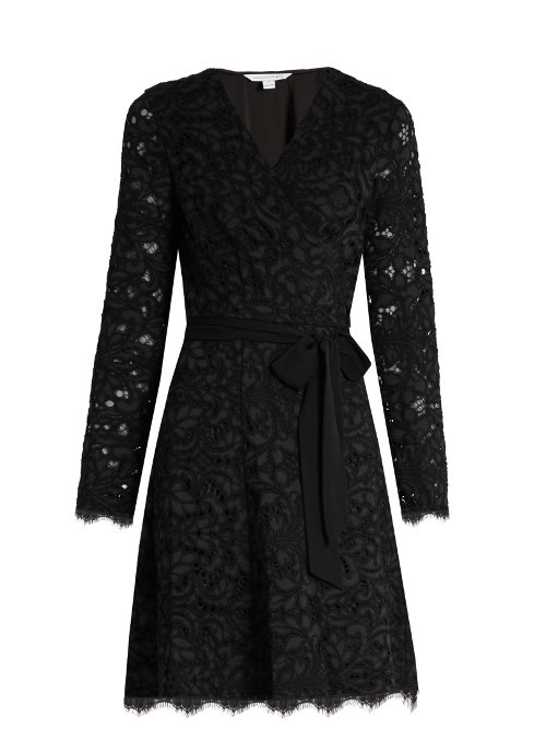 Shaelyn Dress - style: faux wrap/wrap; neckline: v-neck; pattern: plain; waist detail: belted waist/tie at waist/drawstring; predominant colour: black; occasions: evening; length: just above the knee; fit: body skimming; fibres: cotton - mix; sleeve length: long sleeve; sleeve style: standard; texture group: lace; pattern type: fabric; season: a/w 2016; wardrobe: event