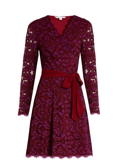 Shaelyn Dress - style: faux wrap/wrap; neckline: v-neck; pattern: plain; waist detail: belted waist/tie at waist/drawstring; predominant colour: burgundy; occasions: evening; length: just above the knee; fit: body skimming; fibres: cotton - mix; sleeve length: long sleeve; sleeve style: standard; texture group: lace; pattern type: fabric; season: a/w 2016