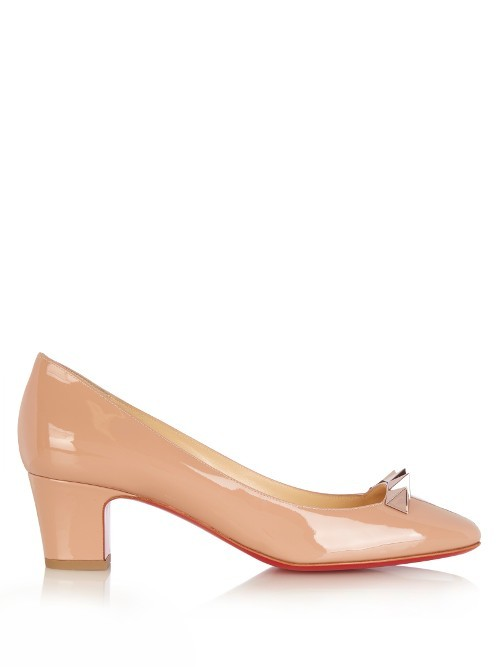 Pyramidame 45mm Patent Leather Pumps - predominant colour: nude; occasions: work; material: leather; heel height: mid; heel: block; toe: round toe; style: courts; finish: patent; pattern: plain; season: a/w 2016