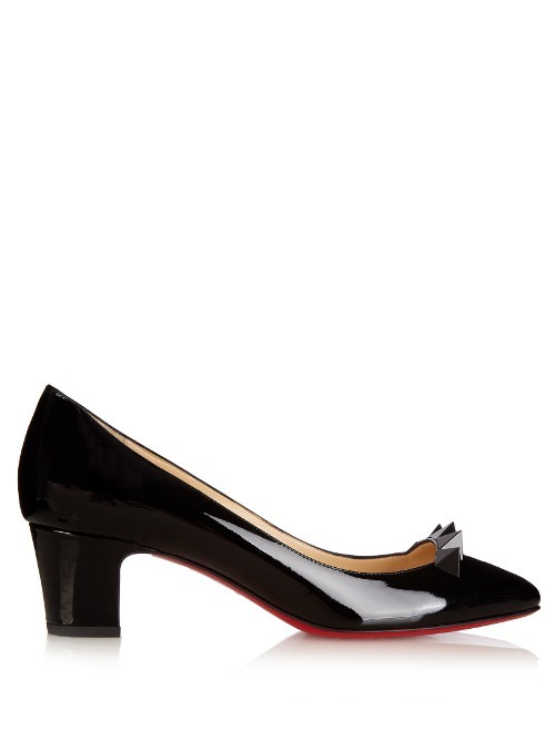 Pyramidame 45mm Patent Leather Pumps - predominant colour: black; occasions: work, creative work; material: leather; heel height: mid; embellishment: studs; heel: block; toe: round toe; style: courts; finish: patent; pattern: plain; season: a/w 2016