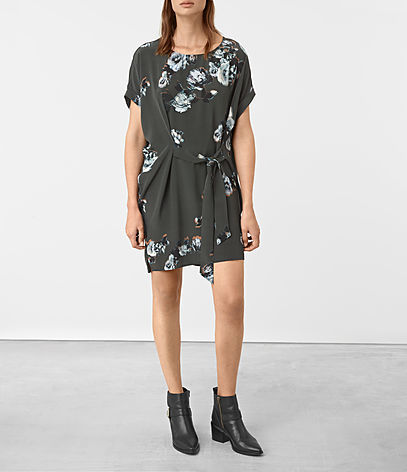 Sonny Flora Silk Dress - style: t-shirt; length: mid thigh; fit: loose; waist detail: belted waist/tie at waist/drawstring; secondary colour: pale blue; predominant colour: charcoal; occasions: evening; fibres: silk - 100%; neckline: crew; sleeve length: short sleeve; sleeve style: standard; texture group: silky - light; pattern type: fabric; pattern: florals; multicoloured: multicoloured; season: a/w 2016; wardrobe: event