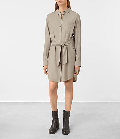 Jules Shirt Dress - style: shirt; neckline: shirt collar/peter pan/zip with opening; pattern: plain; waist detail: belted waist/tie at waist/drawstring; predominant colour: stone; occasions: casual; length: just above the knee; fit: body skimming; sleeve length: long sleeve; sleeve style: standard; pattern type: fabric; texture group: jersey - stretchy/drapey; fibres: viscose/rayon - mix; wardrobe: basic; season: a/w 2016