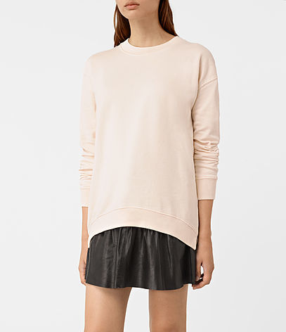 Lea Sweatshirt - pattern: plain; style: sweat top; predominant colour: nude; occasions: casual; length: standard; fibres: cotton - 100%; fit: body skimming; neckline: crew; sleeve length: long sleeve; sleeve style: standard; pattern type: fabric; texture group: jersey - stretchy/drapey; season: a/w 2016