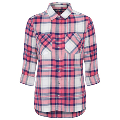 Check Print Woven Shirt Pink - neckline: shirt collar/peter pan/zip with opening; pattern: checked/gingham; length: below the bottom; style: shirt; secondary colour: ivory/cream; predominant colour: hot pink; occasions: casual, creative work; fit: body skimming; sleeve length: 3/4 length; sleeve style: standard; bust detail: bulky details at bust; pattern type: fabric; texture group: woven light midweight; fibres: viscose/rayon - mix; multicoloured: multicoloured; season: a/w 2016; wardrobe: highlight