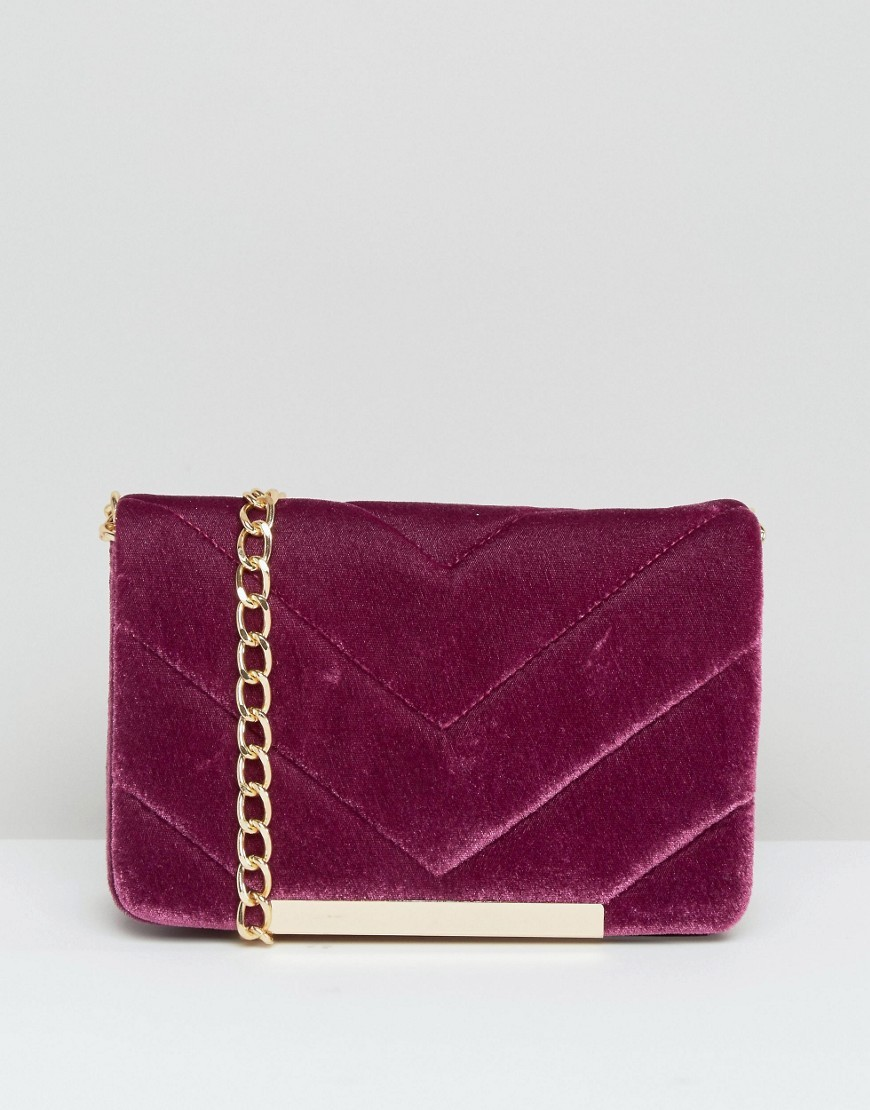 Velvet Quilted Lock Cross Body Bag Pink - predominant colour: hot pink; occasions: casual, creative work; type of pattern: standard; style: shoulder; length: across body/long; size: small; material: velvet; embellishment: quilted; pattern: plain; finish: plain; season: a/w 2016; wardrobe: highlight; trends: velvet