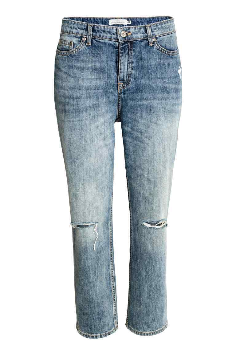 Straight Ankle Jeans - style: straight leg; length: standard; pattern: plain; pocket detail: traditional 5 pocket; waist: mid/regular rise; predominant colour: denim; occasions: casual; fibres: cotton - stretch; jeans detail: washed/faded, rips; texture group: denim; pattern type: fabric; wardrobe: basic; season: a/w 2016