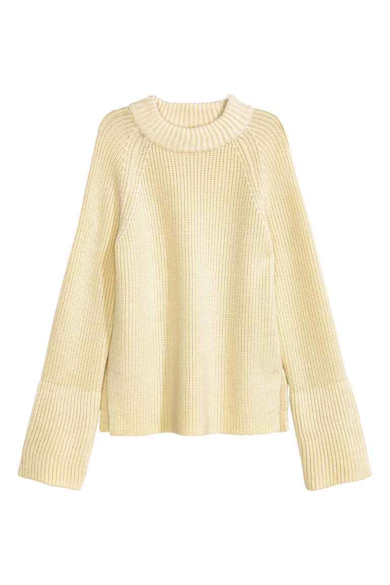 Rib Knit Wool Jumper - pattern: plain; style: standard; predominant colour: ivory/cream; occasions: casual; length: standard; fibres: wool - 100%; fit: standard fit; neckline: crew; sleeve length: long sleeve; sleeve style: standard; texture group: knits/crochet; pattern type: knitted - other; season: a/w 2016