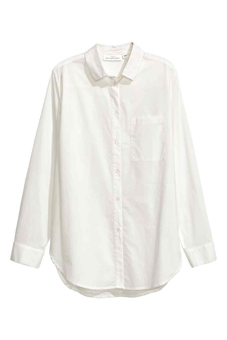 Shirt In Premium Cotton - neckline: shirt collar/peter pan/zip with opening; pattern: plain; style: shirt; predominant colour: white; occasions: work; length: standard; fibres: cotton - 100%; fit: body skimming; sleeve length: long sleeve; sleeve style: standard; texture group: cotton feel fabrics; pattern type: fabric; wardrobe: basic; season: a/w 2016