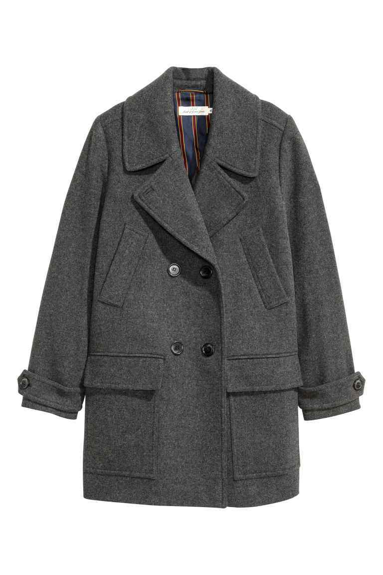 Wool Blend Pea Coat - pattern: plain; length: standard; style: pea coat; collar: standard lapel/rever collar; predominant colour: charcoal; occasions: casual; fit: straight cut (boxy); fibres: wool - mix; sleeve length: long sleeve; sleeve style: standard; texture group: technical outdoor fabrics; collar break: medium; pattern type: fabric; wardrobe: basic; season: a/w 2016