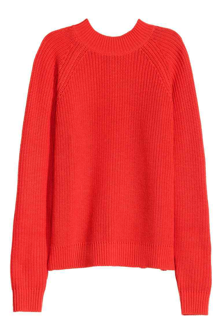 Knitted Turtleneck Jumper - pattern: plain; style: standard; predominant colour: coral; occasions: casual; length: standard; fibres: cotton - mix; fit: loose; neckline: crew; sleeve length: long sleeve; sleeve style: standard; texture group: knits/crochet; pattern type: knitted - other; season: a/w 2016; wardrobe: highlight
