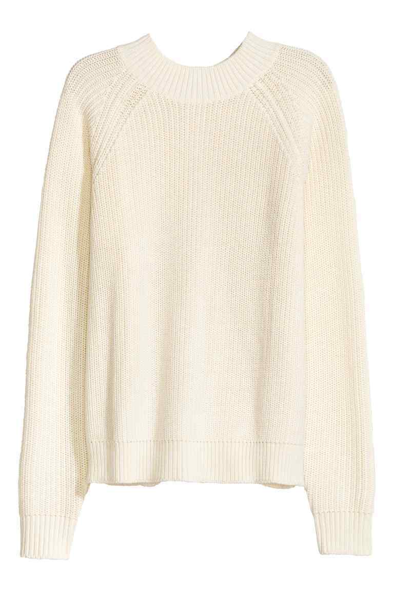 Knitted Turtleneck Jumper - pattern: plain; style: standard; predominant colour: ivory/cream; occasions: casual; length: standard; fibres: cotton - mix; fit: standard fit; neckline: crew; sleeve length: long sleeve; sleeve style: standard; texture group: knits/crochet; pattern type: knitted - other; wardrobe: basic; season: a/w 2016