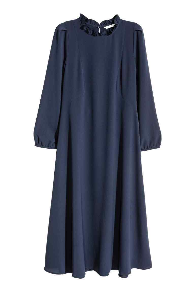 Knee Length Dress - style: smock; length: below the knee; fit: loose; pattern: plain; neckline: high neck; predominant colour: navy; occasions: evening; fibres: polyester/polyamide - stretch; sleeve length: 3/4 length; sleeve style: standard; pattern type: fabric; texture group: jersey - stretchy/drapey; season: a/w 2016; wardrobe: event