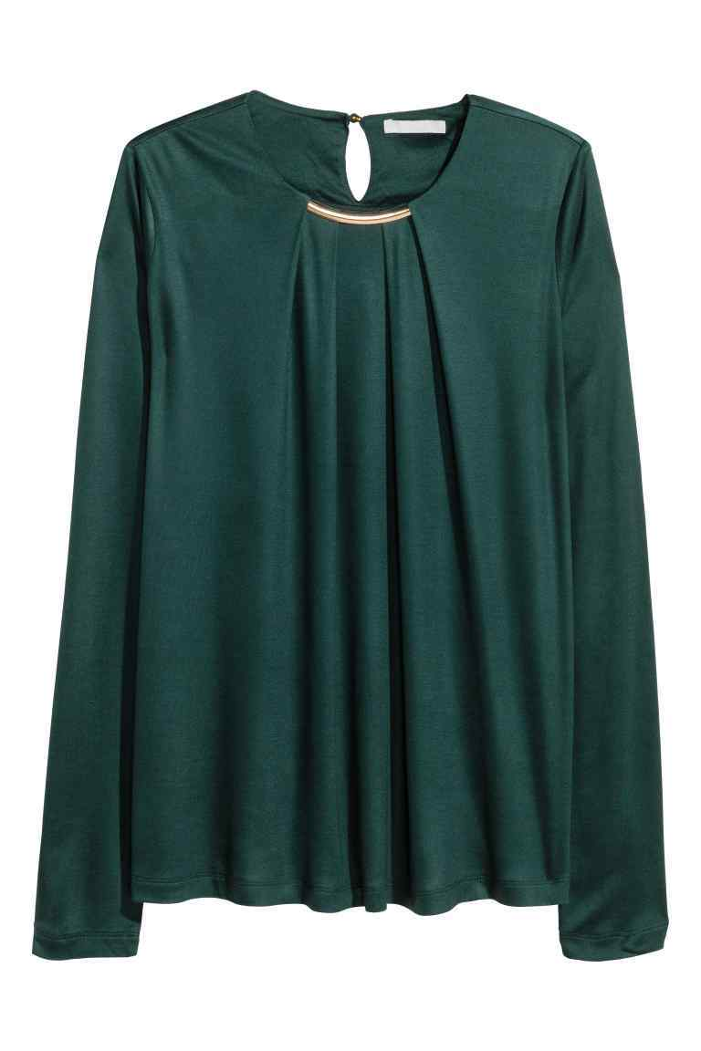 Necklace Trim Top - pattern: plain; predominant colour: dark green; occasions: evening; length: standard; style: top; fibres: viscose/rayon - 100%; fit: body skimming; neckline: crew; sleeve length: long sleeve; sleeve style: standard; pattern type: fabric; texture group: jersey - stretchy/drapey; season: a/w 2016; wardrobe: event