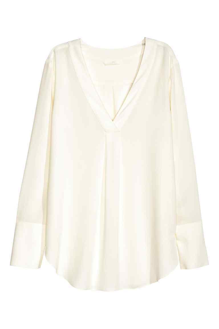V Neck Blouse - neckline: v-neck; pattern: plain; style: blouse; predominant colour: white; occasions: casual; length: standard; fibres: polyester/polyamide - 100%; fit: loose; sleeve length: long sleeve; sleeve style: standard; pattern type: fabric; texture group: jersey - stretchy/drapey; wardrobe: basic; season: a/w 2016