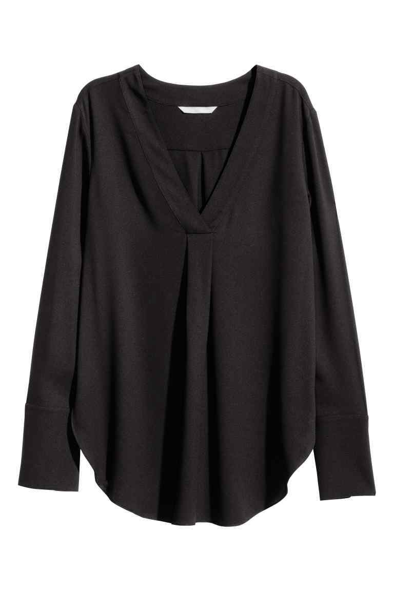 V Neck Blouse - neckline: v-neck; pattern: plain; style: blouse; predominant colour: black; occasions: casual; length: standard; fibres: polyester/polyamide - 100%; fit: loose; sleeve length: long sleeve; sleeve style: standard; texture group: sheer fabrics/chiffon/organza etc.; pattern type: fabric; wardrobe: basic; season: a/w 2016