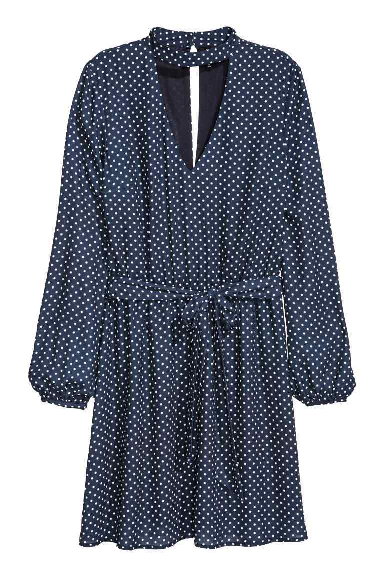 Knee Length Dress - style: smock; length: mid thigh; fit: loose; pattern: polka dot; waist detail: belted waist/tie at waist/drawstring; secondary colour: white; predominant colour: navy; occasions: evening; neckline: peep hole neckline; fibres: polyester/polyamide - 100%; sleeve length: long sleeve; sleeve style: standard; pattern type: fabric; texture group: jersey - stretchy/drapey; multicoloured: multicoloured; season: a/w 2016; wardrobe: event