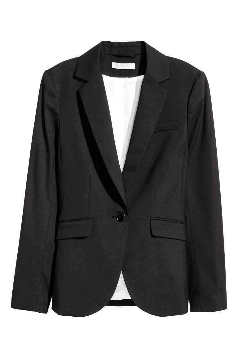 Fitted Jacket - pattern: plain; style: single breasted blazer; collar: standard lapel/rever collar; predominant colour: black; occasions: work; length: standard; fit: tailored/fitted; fibres: polyester/polyamide - stretch; sleeve length: long sleeve; sleeve style: standard; collar break: medium; pattern type: fabric; texture group: woven light midweight; wardrobe: investment; season: a/w 2016