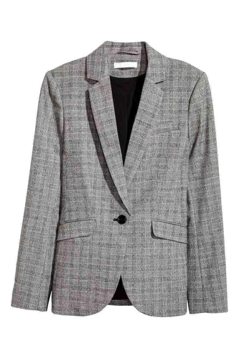 Fitted Jacket - pattern: checked/gingham; style: single breasted blazer; collar: standard lapel/rever collar; predominant colour: mid grey; occasions: work; length: standard; fit: tailored/fitted; fibres: polyester/polyamide - stretch; sleeve length: long sleeve; sleeve style: standard; collar break: medium; pattern type: fabric; texture group: woven light midweight; wardrobe: investment; season: a/w 2016