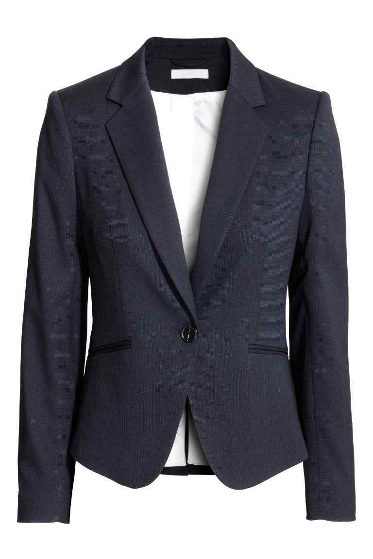 Fitted Jacket - pattern: plain; style: single breasted blazer; collar: standard lapel/rever collar; predominant colour: navy; occasions: work; length: standard; fit: tailored/fitted; fibres: polyester/polyamide - stretch; sleeve length: long sleeve; sleeve style: standard; collar break: medium; pattern type: fabric; texture group: woven light midweight; wardrobe: investment; season: a/w 2016
